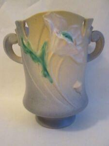 FLOWER VASE! Vintage ROSEVILLE ART pottery: matte GRAY POPPY pattern: EXC