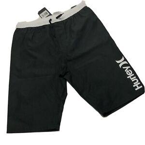 Hurley Boys Swim Trunks Shorts XL Black White Drawstrings Inner Lining Pocket