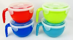 Set of 4 Microwave Soup Bowls with Handle and Snap Lock Vented Cover  28 0z