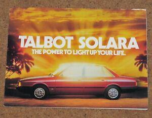 1980 TALBOT SOLARA UK Launch Sales Brochure - LS GL GLS SX