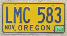 Oregon 1974 License Plate # LMC 583