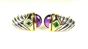 DAVID YURMAN Sterling Silver 14k Yellow Gold Amethyst Renaissance Earrings