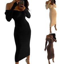 Women's Off Shoulder Jumper Dress Deep-V Knitted Top Long Sleeve Bodycon Dress