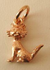 GENUINE SOLID 9K  9ct ROSE Gold 3D CAT ANIMAL CHARM/PENDANT