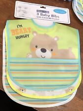 "Bon Bebe Baby Bib Set 3 Pk Velcro Closure 10""X9"" Catch All Pocket Easy Clean New"