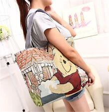 Cute disney Winnie The Pooh canvas shoulder bag womans lady tote big shopper bag