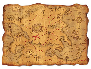 Pirate Treasure Map Plastic Kids Pirate Themed Antique Look Party Decoration