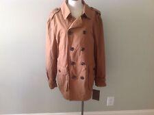 Tasso Elba British Tan Jacket New Brown Double Breasted Cotton M Medium