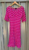 WITCHERY retro 90s pink purple polka dot half sleeve midi dress sz 12 Aust made