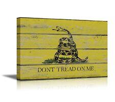 "Canvas- Gadsden Flag /Don't Tread on Me Flag on Wood Board Background- 24"" x 36"""