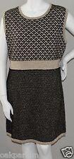 ASOS Curve Metallic Gold Black & White Sweater Tunic Dress - Size 16 - New!