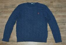 POLO Mens Cable Knit Lambswool Crew Neck Jumper Size XL
