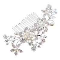 Flower Wedding Hair Pins Bridesmaid Crystal Diamante Pearls Bridal Clips Comb