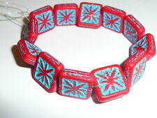 Carved Czech Glass Matte Red Compass w/ Turquoise Wash Square Beads - 15mm