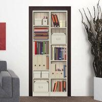 3D Shelf Cabinet Self-adhesive Door Murals Peel & Stick Wall Stickers Wallpaper