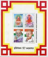 Bhutan 1997 MNH India Independence Mahatma Gandhi 4v M/S Famous People Stamps