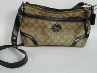 COACH HERITAGE F18924 JACQUARD LOGO MONOGRAM SHOULDER BAG HANDBAG PURSE