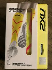 2XU Women Compression performance X socks, Yellow / Red,,  Small