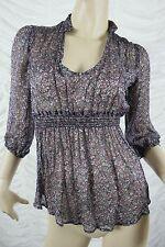 ZARA BASIC purple floral print 100% silk sheer collarless blouse size S EUC