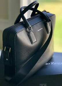 $2295 Ermenegildo Zegna Grained Business Black Leather Laptop Bag