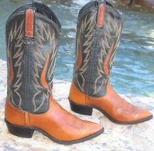 Dan Post Western Cowboy Boots Women Size 6 / 6.5 M Brown Black Leather Exclnt