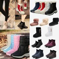 Women Snow Boots Ladies Winter Warm Platform Fur Lined Waterproof Lace Up Shoes