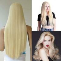 Women's Blonde Long Straight Full Wig Synthetic Hair No Bangs Cosplay Party Wig
