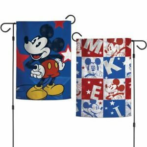 New Disney Mickey Mouse Americana 2 Sided Decorative Indoor Outdoor Garden Flag