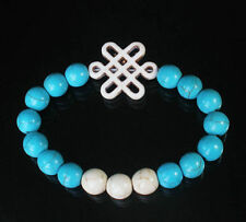 Turquoise Blue & White  Bracelet with White Chinese Knot