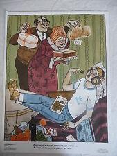 Russian satirical campaign cartoon poster: anti vice Spoilt Brat USSR 1985