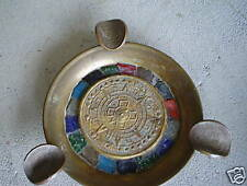 Vintage Brass Metal Ashtray Mexico with Tile and Coins