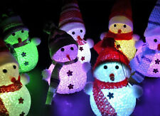 5 x Crystal Ice Sculpture Effect Colour-Changing LED Lights Snowman Decoration