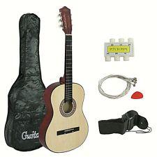 Guitarra Acustica Prinicipiantes Madera Natural con Funda y Accesorios Incluidos