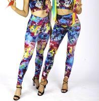 Leggings Tie Dyed Hippie Festival Rainbow Rave Multicolour 90s Grunge Retro