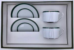 "Christofle Porcelain Tea Set for Two, ""Tete-a-Tete"", Model Talisman, Green"