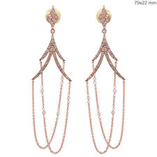 Solid 18k Rose Gold Diamond Bead Chain Dangle Chandelier Earrings Same Day Ship