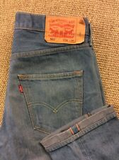 Mens LEVI STRAUSS 501 Selvedge W34 L35 Selvage Stonewash Blue Denim Jeans Superb