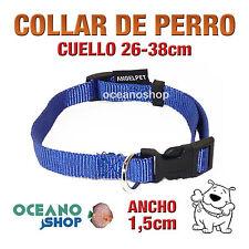 COLLAR PERRO AZUL AJUSTABLE DE NYLON CUELLO 26-38cm ANCHO 1,5cm L71 1884