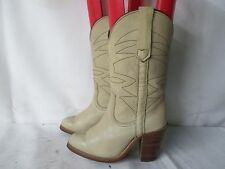FRYE Cream White Leather Cowboy Boots Womens Size 5 B Made In The USA Style 8808