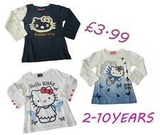 Girls T-Shirt Top Long Sleeve Casual Hello Kitty 2-10 Years COTTON NEW!