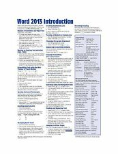 Microsoft Word 2013 Introduction Quick Reference Guide (Cheat S... Free Shipping