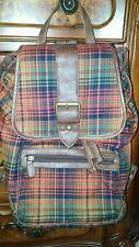 pre owned back pack purse women's red maroon plaid  holiday