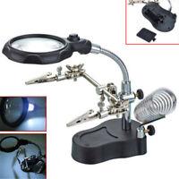 Neue 3.5X 12X Helping Hand Löten Stand Mit LED-Licht Schmuck Lupe Lupe 20 QKM