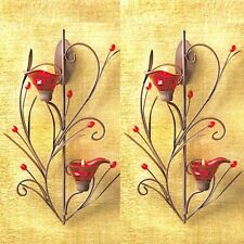 2 Ruby Sconce Candle Holder Wall Decor - Set