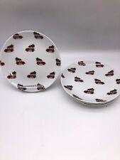 Pottery Barn Set 4 Salad Appetizer Plates Christmas  Woody Car