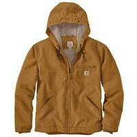 Carhartt Washed Duck Sherpa Lined Jacket 104392 Brown Mens Large Regular NWT