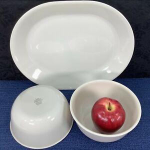 Corelle SANDSTONE Serving Platter Oval 12 x 10 Plate + 2 Deep Super Soup Bowls
