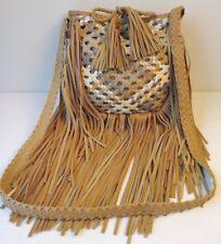 Mossimo Brown Fringe Multi Woven Cotton/Vegan Leather Shoulder Crossbody Bag