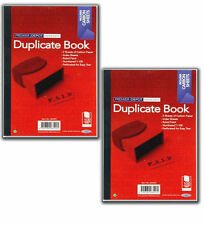 2 x DUPLICATE RECEIPT BOOK OFFICE INDEXED RULED CARBON  PERFORATED SHEETS