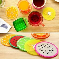 6PCS Silicone Coasters Cup Placemat Lovely Round Colorful Fruit Images Mat Hot